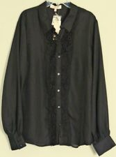 DIANA FERRARI Lynette  SHIRT sheer Black long sleeve BLOUSE  NEW! ~ Women sz 14