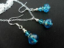 Azul Cristal collar y pendiente conjunto Con 925 Plata Ganchos.