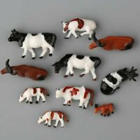 10Pcs HO Scale Well Painted 1:87 Cows Model Train Layout Farm Animal Figures Toy