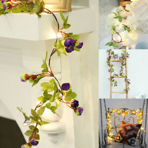 LED Artificial Garland Rose Flowers Vine String Fairy Lights Wedding Xmas Lamps