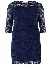 New Simply Be Emily Ladies Navy Blue Sweetheart Lace Dress Plus Size 16 - 26