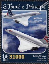 British Airways & Air France CONCORDE Aircraft Stamp (2016 St Thomas & Prince)