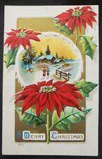 Antique Christmas Card Postcard unused . Embossed design