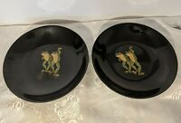 "2 - Vtg Couroc Inlaid 7.5"" Round Nuts Chips Bowls Trays Dancing Frogs - MCM Bar"