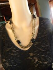 "ONYX & GOLD TONE CHAIN NECKLACE 42"" LONG"