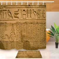Bathroom Set Egyptian Hieroglyphs Shower Curtain Liner Waterproof Fabric Hooks