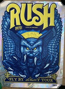 RUSH POSTER FLY BY NIGHT 1975 SWIRL FOIL VARIANT AMES BROS SIGNED #'D OF 60