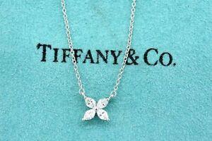 """Tiffany & Co. Victoria Diamond Pendant Platinum .32ct 16"""" Chain $4200"""
