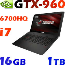 "Asus ROG GL552VW Quad i7-6700HQ GTX960 16G 1TB BluRay 15.6""Full-HD Gaming Laptop"