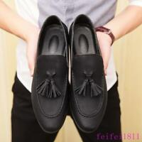 Mens Tassel Leather Shoes Flat Oxfords Dress Casual Slip On Loafers Fashion Size