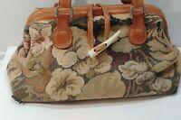 Vintage Tapestry and Leather Shoulder Bag Marco Avane