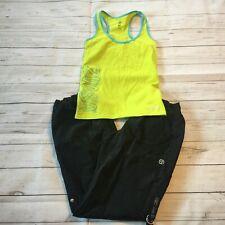 Zumba Wear Workout Yoga Women's Medium Black Pants and Small Green Shirt ##8