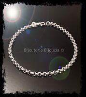 Bracelet Maille Jaseron En Argent Massif 925/1000 Bijoux Femme
