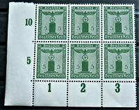 WW2 REAL NAZI 3rd REICH ERA GERMAN BLOCK OF 6 OFFICIAL STAMPS WITH MARG 5 rf