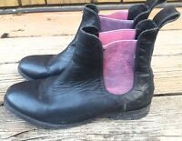 FREE PEOPLE FARYL ROBIN MOUNTAIN PEAK CHELSEA BOOTS BLACK LEATHER WOMENS SZ 8