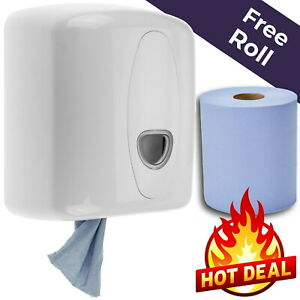 Centerfeed Wall Dispenser with a Roll of Blue Center Feed Pull Wipes WC