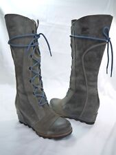Sorel Women's Gray Leather Lace-Up Gore Outsole Wedge Boots Size US 7.5