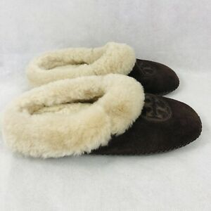 Tory Burch Coley Shearling Fur Lined Slippers Womens Suede Shoes Size 6 Brown