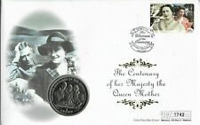Isle of Man 2000 Mercury  LE Queen Mother's Century Coin FDC.Isle of Man Coin
