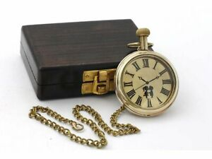 Boy's and Girl's Brass Pocket Watch with Love Poem and Wooden Box