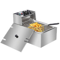 6L 2500W Electric Deep Fryer Commercial Tabletop Restaurant Frying Basket