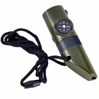 7 in 1 Military Style Emergency Whistle Survival Kit Compass Thermometer LED SS