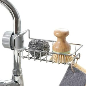 Storage Faucet Holder Soap Drainer Shelf Basket Organizer Kitchen Accessories