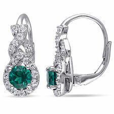 Amour Sterling Silver Created Emerald and Created White Sapphire Earrings