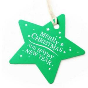 """100PCS Christmas Tree Paper Baking Gifts Wrap Tags Card Label """" MERRY CHRISTMAS"""