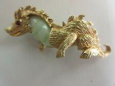 Vtg Marvella Gold Tone Green White Glass Jelly Belly Dragon Rhinestone Eye Pin