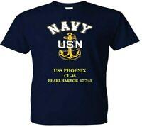 USS PHOENIX  CL-46 PEARL HARBOR WW II VINYL & SILKSCREEN NAVY ANCHOR SHIRT.