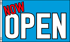 'NOW OPEN' Blue Shop Sign Advertising POS 5'x3' Flag !