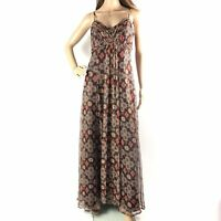 Monsoon Womens Long Silk Maxi Dress Size 10 Strappy Brown Empire Waist