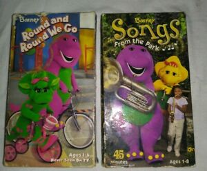 Barney's Round And Round We Go And Songs From The Parks In VHS Lot Of 2 TESTED