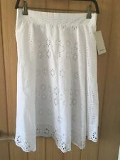 BNWT ZARA White Combined Skirt with Cutwork Embroidery Size L