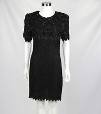 Laurence Kazar M Medium Dress Womens Black Beaded Sequins Shoulder Pads Cocktail