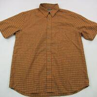 Columbia Shirt Short Sleeve Adult Large Checks Orange Outdoor Camping Hiking