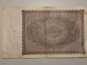 1923 100,000 MARK GERMANY CURRENCY REICHSBANKNOTE GERMAN BANKNOTE BILL NOTE