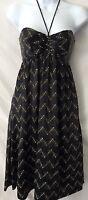 BETSEY JOHNSON Dress Size 4 Silk Black Label Halter Elegant Evening Women's