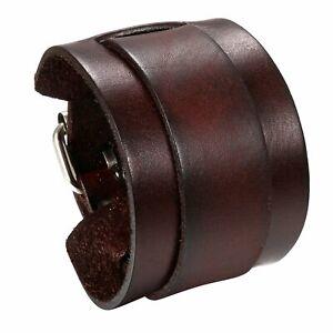 Men's Punk Wide Genuine Leather Belt Wristband Bangle Cuff Bracelet Adjustable