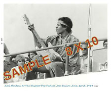JIMI HENDRIX  NEWPORT POP FEST PHOTO JUNE 1969 + REPRO TICKET w. PERFORATION  LE