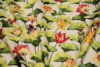 """Upholstery Drapery Harrison Howard Floral Print Fabric 54""""W  Lotus Dream Cotton"""