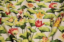 "Upholstery Drapery Harrison Howard Floral Print Fabric 54""W  Lotus Dream Cotton"