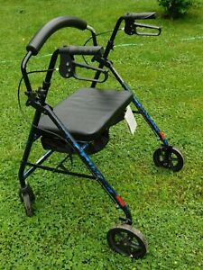 PROBASICS Lightweight Foldable Walker Padded Seat Blue weight up to 400lbs
