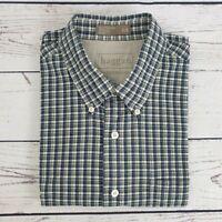 Mens Haggar Navy Blue and Green Check Short Sleeve Shirt Size Large L