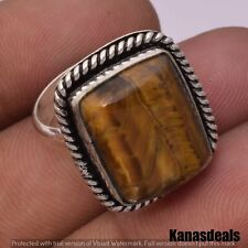 Silver Plated Fashion Ring 7'' Kr-21983 7 Gm Tiger Eye 925 Sterling