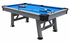 """""""THE FLORIDA"""" 8 FOOT ALL WEATHER OUTDOOR POOL TABLE ~ SILVER w/BLUE CLOTH & ACCS"""