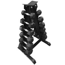FXR SPORTS 6 PAIR HEX DUMBBELL STAND + DUMBBELLS SET RACK GYM WEIGHTS 6 PAIRS