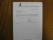 JACK  BISHOP  Signed 1986 Letter Southern Utah State College Football Head Coach