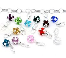 1 x Silver Plated Clip on Birthstone Style Charm Pendant Gift Jewellery Q38